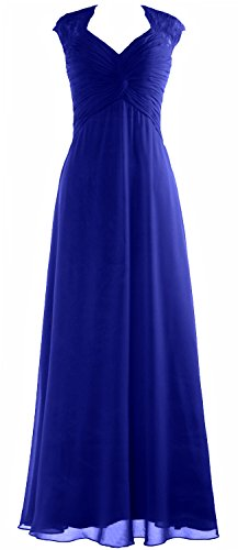 MACloth Women Cap Sleeve Lace Long Prom Dress Chiffon Wedding Party Formal Gown Royal Blue