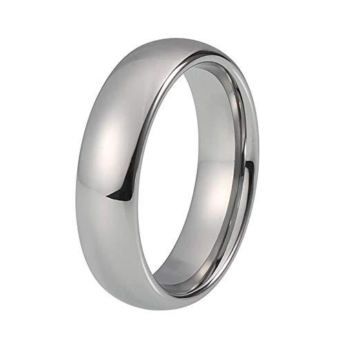 XCWXM Ringe fü Ringe Classic Ring Silber Wolfram Ehering für Männer und Frauen Band 6MM5.5 (6mm Band Hochzeit Wolfram)
