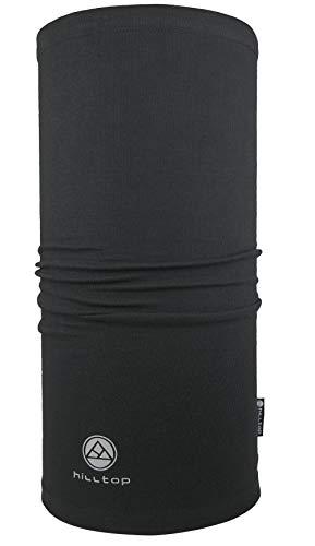 Hilltop Motorrad Halstuch, Multifunktionstuch, Schlauchtuch, Bandana, Schal - 100% Baumwolle, Farbe/Design:Schwarz
