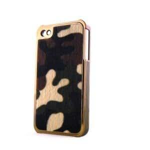 Coque effet peau de vache avec poils et contour simili cuir metal bronze pour Iphone 4 + film protection ecran