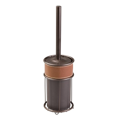 mDesign moderne Toilettenbürste mit WC Bürstenhalter in Braun – hochwertig verarbeitete Klobürste – aus robustem Stahl mit veganem - Verarbeitetes Leder