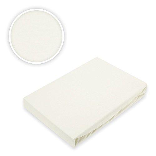 Marca fogli Topper Jersey lenzuola Spannbetttuch, 100%  cotone, bianco naturale, 180 x 200 - 200 x 220 cm