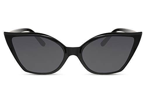 Cheapass Sonnenbrille Cat-Eye Schwarz UV-400 Exklusiv Katzenauge Designer-Brille Plastik Damen Frauen