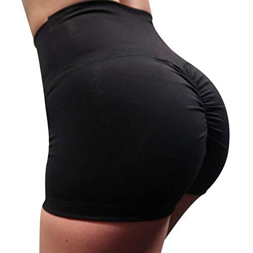 QIMANZI Sporthose Damen Shorts Yogahose Fitnesshose mit Nierenwärmer Multifunktion Stretch Leggins Yoga Wear Shorty(Schwarz,M) -