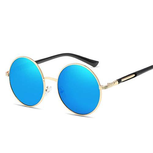 TIANKON Runder Prinz Sunglasses Mirror Circular Fashion Sonnenbrille Frauen Markendesigner Retro Man Wild Glasses,Blau