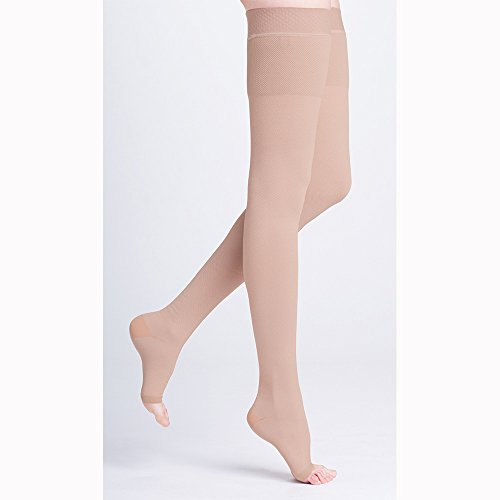 500 Natural Rubber 30-40 mmHg Open Toe Unisex Thigh High Sock without Grip-Top Size: S1 by Sigvaris (Open Toe Thigh High Socks)