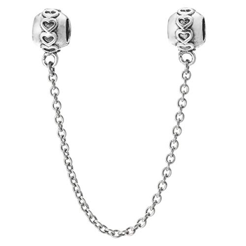 Antik 925Sterling Silber Infinity Love Herz Schraub Perle Sicherheit Kette für europäische Charm-Armbänder (Herz Charms-infinity Pandora)