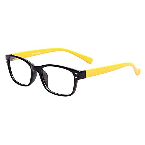 Hzjundasi Unisex Leicht Bunt Tempel Middin Kurzsichtigkeit Brille Gemütlich Kurzsichtig Brillen Eyewear für Damen Männer (Stärke -2.5, Schwarz Rahmen Gelb Tempel) (Diese sind nicht Lesen Brille)
