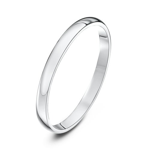 Theia Unisex Ehering Platin, massive D-Form, poliert, 2mm - Größe 58 (18.5) (White Gold 18 Wedding K Band)