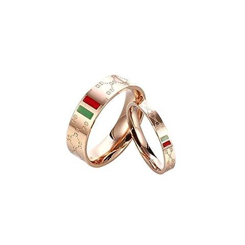 Z&YQ Ringe Goldene Gravierte Finger Ring Edelstahl Paar Ring Modeschmuck , Rose Gold, Width 9,
