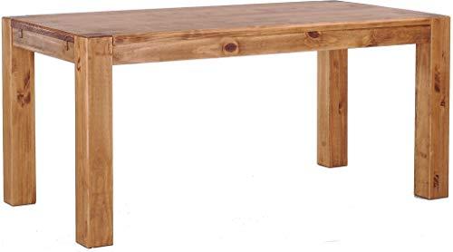 Brasilmöbel® Esstisch Rio Kanto 200x100x78 cm Brasil - Holz Tisch Pinie Esszimmertisch Küchentisch - vorgerichtet für Ansteckplatten - ausziehbar
