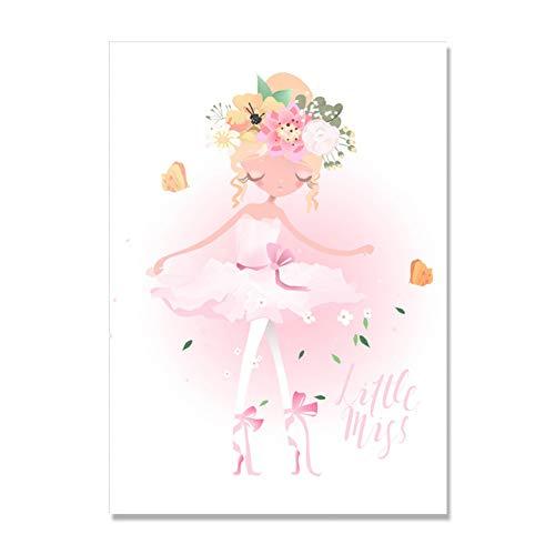 CFGCH Rosa Einhorn Poster Blume Prinzessin Dekoration Königin Wandkunst Leinwand Malerei Kindergarten Hübsches Mädchen Drucke Ungerahmt, 30X40 cm Kein Rahmen, A