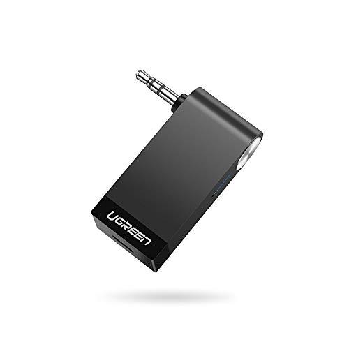 UGREEN Bluetooth Adapter Auto Bluetooth Empfänger Aux 5.0 A2DP Audio Receiver Klinke mit integriertem Mikrofon Unterstützt für Auto Stereoanlage Lautsprecher iPhone 11 Pro Samsung Note 10 usw.