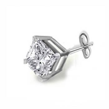 Mans .20Ct Princess Diamond Solitaire Stud Earring 14K Gold