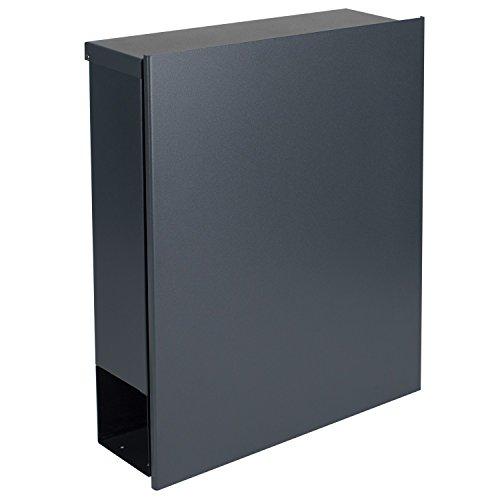 MOCAVI Box 111 Design-Briefkasten mit Zeitungsfach anthrazit-grau (RAL 7016) Wandbriefkasten, Schloss rechts, groß, Aufputzbriefkasten dunkelgrau, Postkasten anthrazitgrau modern mit Zeitungsrolle - 6