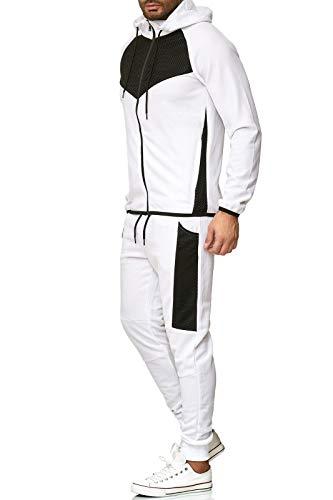 OneRedox Herren Jogginganzug Sportanzug Trainingsanzug Sweatshirt Hose Jogging Anzug Modell A3001C Weiss L