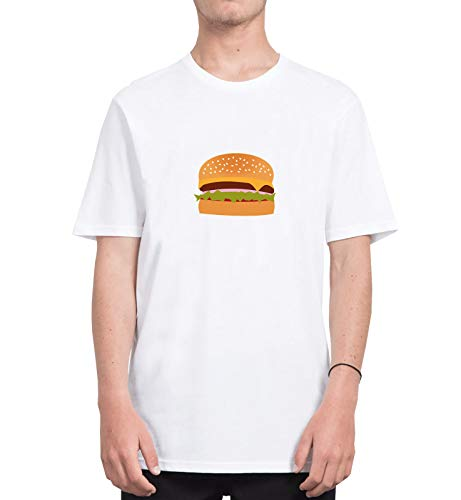 Big Burger Junk Food Lover_CFS5507 Tshirt T-Shirt Shirt Men Man Men's Shirts Tshirts, M White Men Junk-food-print-pullover