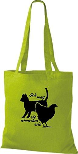 Shirtstown pochette avec inscription humoristique en allemand'ich mag chats, comme ils goûteront poulet plusieurs couleurs Vert - Citron vert