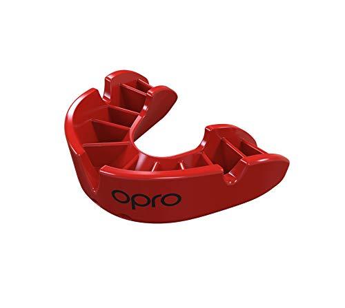 Opro Mundschutz Bronze - Zahnschutz für Handball, Karate, Rugby, Hockey, MMA, Boxen, Lacrosse, American Football, Basketball - Selbst anformbar - im UK Entworfen & Hergestellt (Rot, Erwachsene)