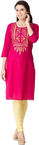 M&D 3/4 Sleeve Stylish Embroidered Pure Cotton women's Kurti