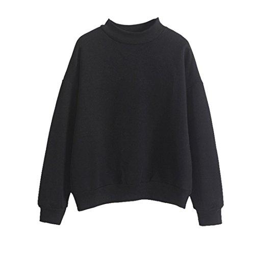 Vertvie Femme Sweat-shirt Lâche Blouse Tops Casual Fleece Manche Longue Uni Automne Hiver Noir 1