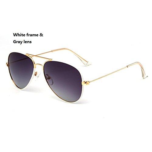 Yiph-Sunglass Sonnenbrillen Mode Kind Sonnenbrille Fashion Pilot Sonnenbrille Kinder Polaroid Sonnenbrille Jungen Mädchen Kinder Baby Brille UV400 Spiegel (Color : White)