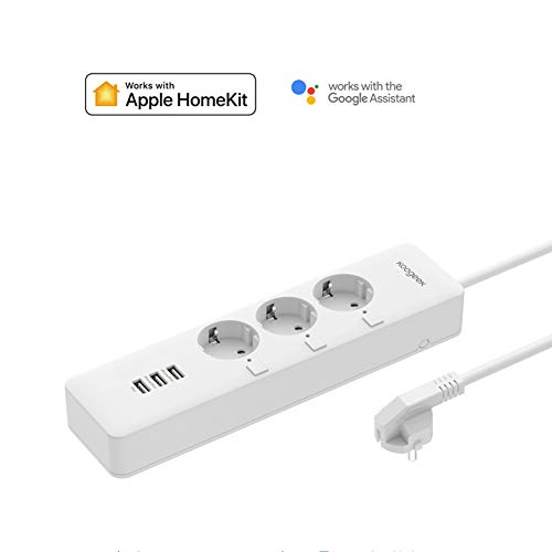 Koogeek Enchufe Múltiple Inteligente, Regleta Wifi USB, Alexa, Apple HomeKit y Google Assistant Control Remoto, con 3 Tomas 3 USB, APP Temporizador para Android y IOS, Monitor de Consumo de Energía