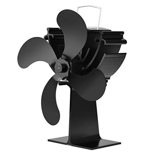 Fogun Stromloser Ventilator für Kamin Holzöfen Öfen, 4 Flügel Rotorblätter Kamin-Ventilator Ofenventilator Feuerstelle Kaminöfen Ofen Fan ohne Strom Umweltfreundlich(Schwarz) [Energieklasse A+++]