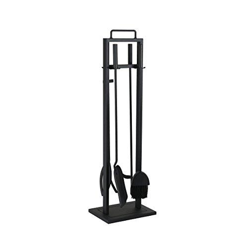 KaminoFlam Kaminbesteck Set Eisen - Kaminzubehör schwarz - Kamingarnitur modern - Kaminset mit Besteck - Kaminwerkzeug 4-teilig mit Ständer & Schürhaken Set
