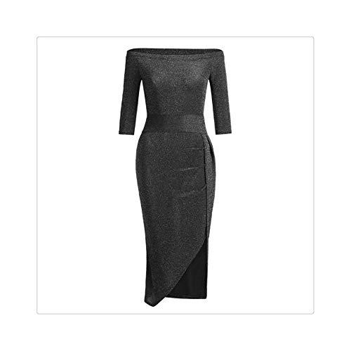 QSAWAL& 2019 New Women Sexy Side Split Summer Dress Off Shoulder Vintage Print Maxi Dress Women Long Sleeve Dresses Size S2XL Black XL -