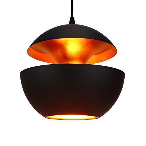 Asvert Retro Industrie neue Hängeleuchte Pendelleuchte schwarz Aluminium Art Deco Vintage Deckenleuchte E27 Fassung für Esstisch Küche Kaffee Bar Loft Beleuchtung, (außen schwarz innen gold) -
