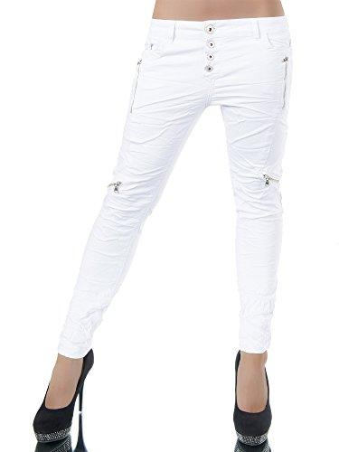 L960 Damen Jeans Hose Hüfthose Damenjeans Chinojeans Boyfriend Röhrenjeans Baggy Weiß