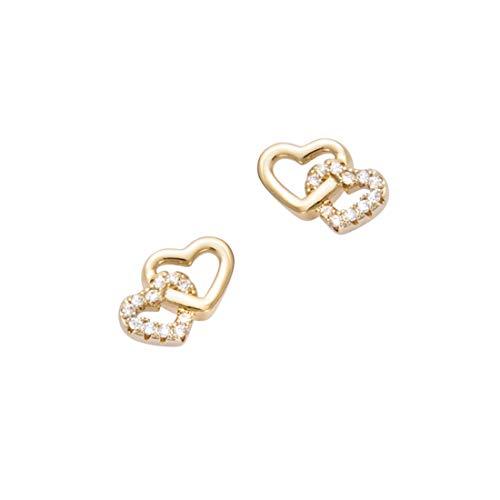 Doppel Herz Ohrstecker für Frauen Mädchen 925 Sterling Silber Gelb Vergoldet mit Zirkonia - Größe: 10 * 8 mm