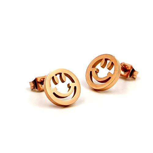 Kostüm Smiley Katze - GLJIJID Niedliche Durchbrochene Smiley-Ohrringe Aus Roségold, Einfache Persönlichkeit, Vielseitige Titan-Stahl-Ohrringe, Gold