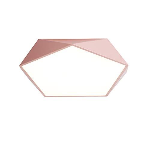 CUICANH Moderner Dimmbar Deckenleuchte, Led 18 W Einfache Nordische Acryl Eisen Deckenlampe Für Wohnzimmer Schlafzimmer Lampen-rosa-tricolor 30x6cm -