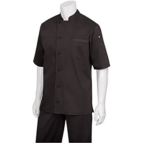 Chef obras b872-xxl Valais Signature Series Unisex chaqueta de cocinero, 2x -Large, Negro
