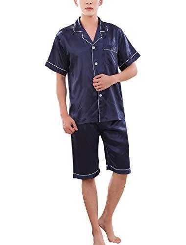 Rojeam Herren Sommer Silk Satin Pyjamas Kurzarm Nachtwäsche 2 Stück Pyjama Set Loungewear