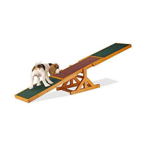 Relaxdays Dog Agility Wippe, Agility Training, große & kleine Hunde, Hundetraining, Hundewippe, 54 x 180 x 30 cm, bunt