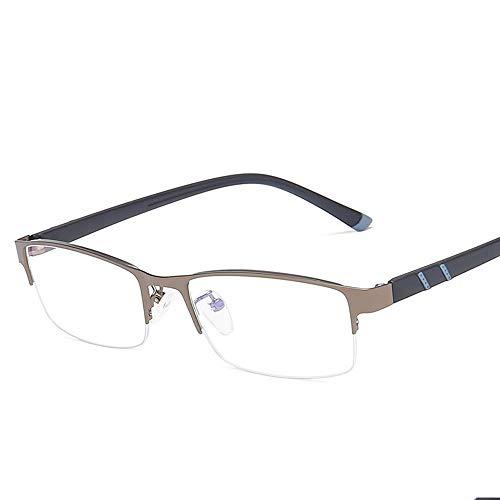 Herren Sonnenbrillen Metall-halbe Rahmen-einfache Gläser-Mann-Geschäfts-blaue Licht-Quadrat-flache flache Gläser LTJHJD (Color : Dark Sliver, Size : Kostenlos)