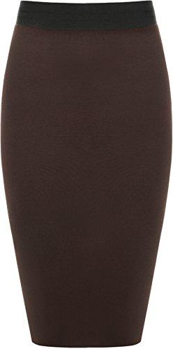 WearAll - Damen Übergröße Einfarbig Anliegend Stretch Bleistiftrock Midi Rock - Dunkelbraun - 48-50