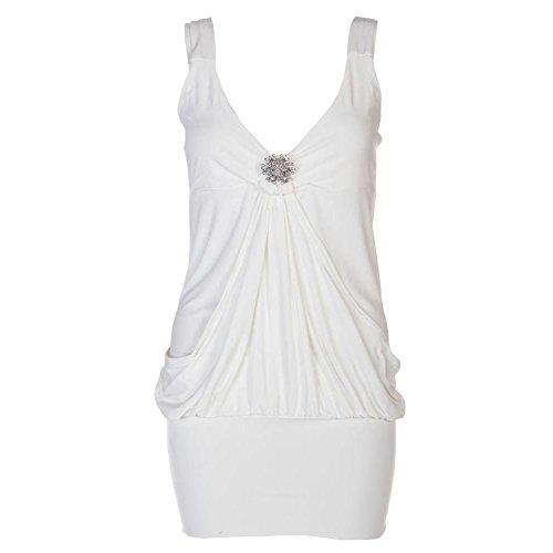 Damen Mini-Kleid mit Drapierung Brosche Party Damen Top, Minikleid Gr. 34-46 Weiß - Weiß