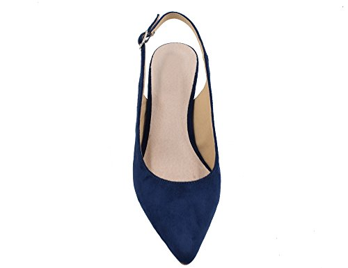 Greatonu Women's Pointed Toe Slingback Dress Court Shoes, Blue – 6 UK