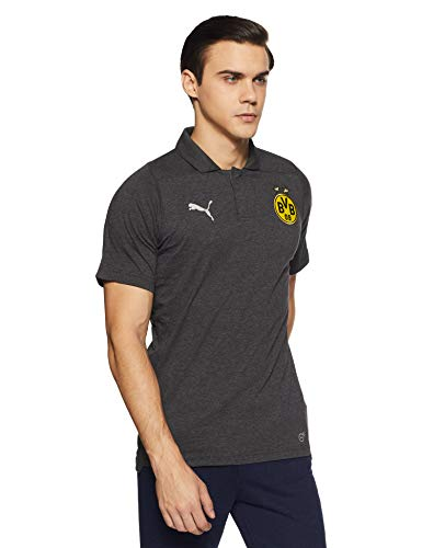 PUMA Herren BVB Casual Polo Without Sponsor Logo T-Shirt, Dark Gray Heather, XL