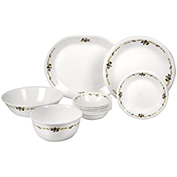 Corelle Romantic Floral Glass Dinnerware Set, 21-Pieces, Multicolor (21-RF-DS)