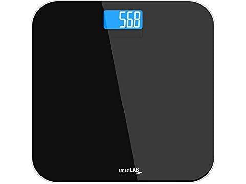 smartLAB scale pése personne de bain en verre trempé noir   Balance avec mesure précise du poids   pése personne numériques pour le contrôle du poids avec affichage LED