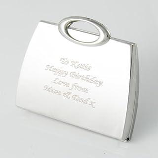 Personalised Silver Plated Handbag Shape Compact Mirror ENGRAVED FREE, Birthday, Wedding, Anniversary Gift