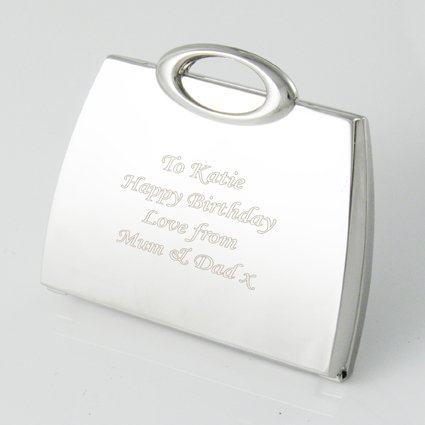 Personalised Silver Plated Handbag Shape Compact Mirror ENGRAVED FREE, Birthday, Wedding, Anniversary Gift