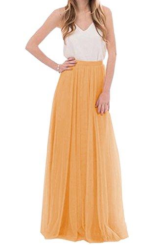 uideazone Frauen Tüll Prom Party Maxi Röcke langen Rock Orange M