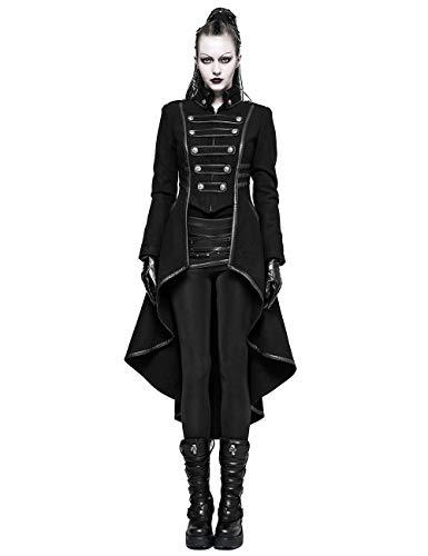 Punk Rave Damen Schwarz Gothic Militär Uniform Kammgarn Langer Mantel S