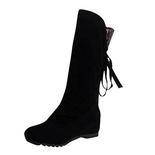 Longra Le donne in pelle scamosciata di leopardo hanno alzato le nappe dei caricamenti del sistema di media cilindro, le scarpe delle signore Nero